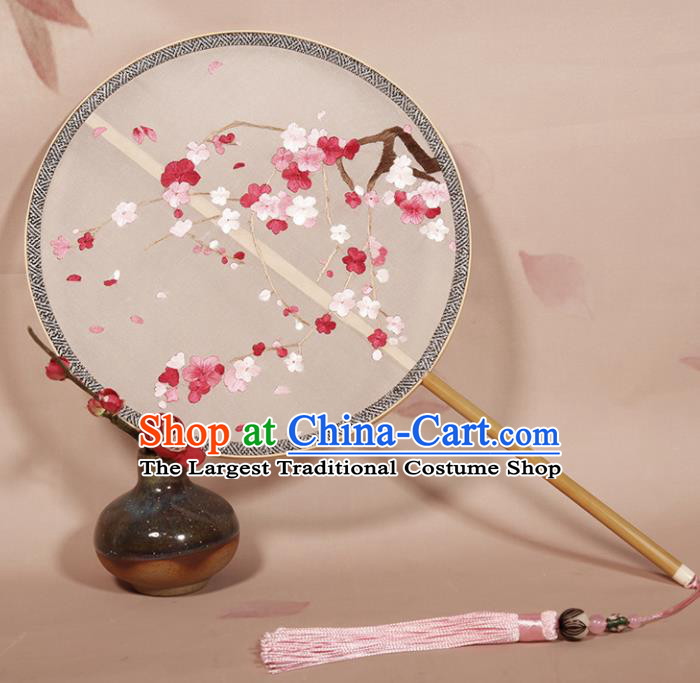 Chinese Ancient Princess Palace Fan Traditional Embroidered Plum Blossom Hanfu Silk Round Fans for Women