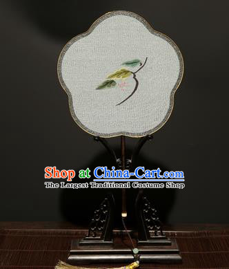 Chinese Ancient Princess Hanfu Palace Fan Traditional Weaving Bird Pure Silk Round Fans for Women