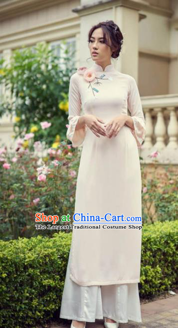 Asian Vietnam Traditional Silk Cheongsam Vietnamese Classical Ao Dai Qipao Dress for Women