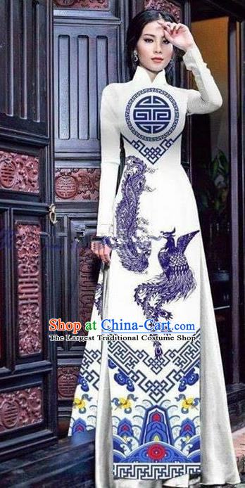 Asian Vietnam Traditional Printing Phoenix White Cheongsam Vietnamese Ao Dai Qipao Dress for Women