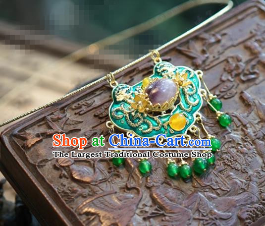 chinese Traditional Palace Cloisonne Necklace Ancient Bride Hanfu Jewelry Accessories for Women