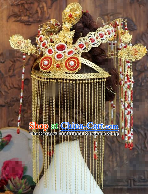 Chinese Ancient Empress Tassel Phoenix Coronet Palace Hairpins Complete Set for Women