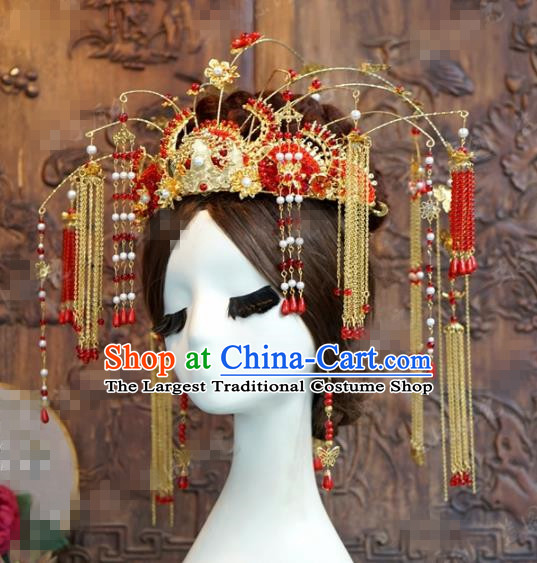 Chinese Ancient Empress Red Beads Tassel Phoenix Coronet Palace Wedding Hairpins Complete Set for Women