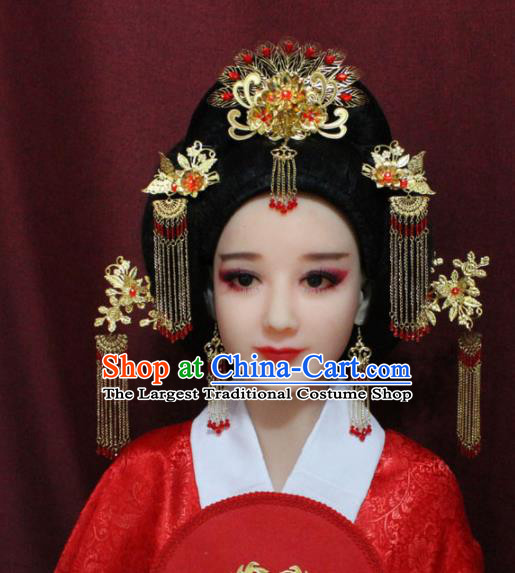 Chinese Ancient Imperial Consort Headdress Tang Dynasty Palace Wedding Hairpins Complete Set for Women