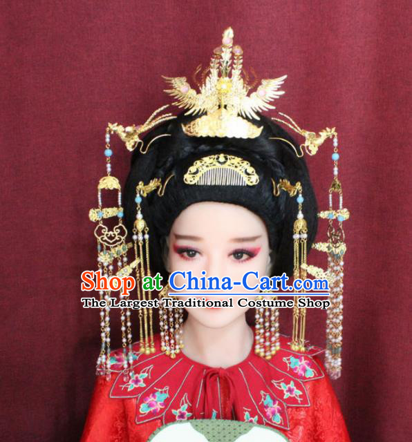 Chinese Ancient Queen Hair Accessories Tang Dynasty Empress Phoenix Coronet Hairpins Complete Set for Women