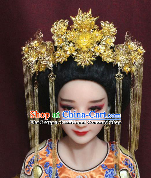Chinese Ancient Tang Dynasty Imperial Consort Headdress Palace Golden Phoenix Coronet Hairpins Complete Set for Women