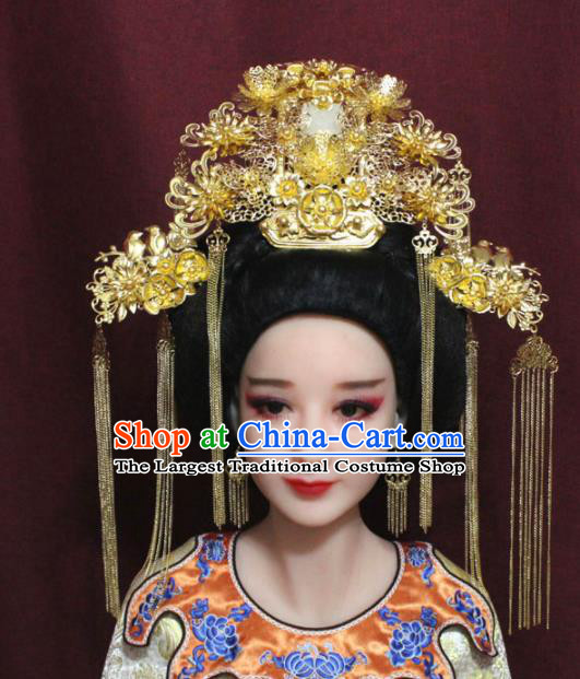 Chinese Ancient Tang Dynasty Headdress Palace Queen Golden Phoenix Coronet Hairpins Complete Set for Women