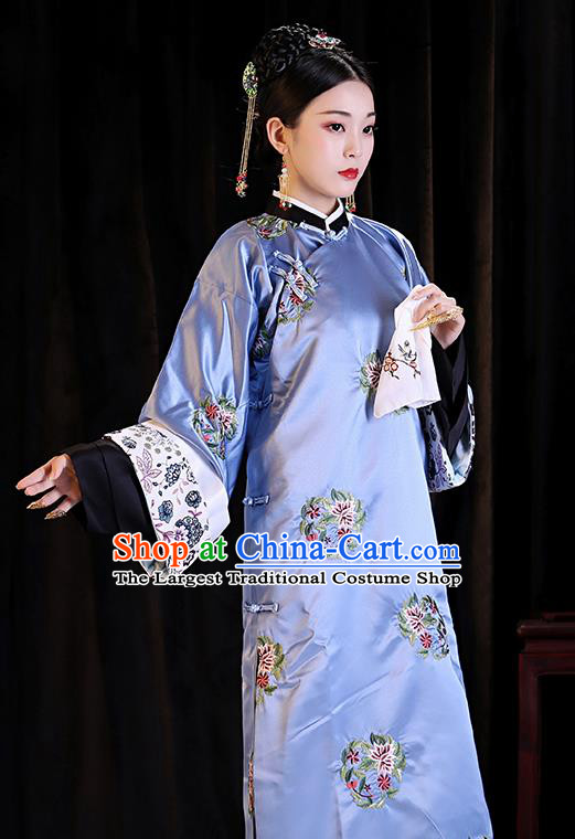 Chinese Ancient Drama Imperial Consort Clothing Qing Dynasty Manchu Palace Lady Embroidered Costumes and Headpiece for Women