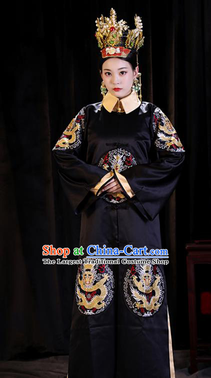 Chinese Ancient Manchu Queen Clothing Qing Dynasty Drama Empress Embroidered Costumes and Headpiece Complete Set