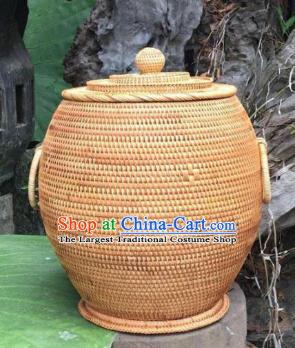 Asian Vietnamese Traditional Craft Rattan Tea Canister Straw Plaited Storage Jar