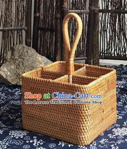 Asian Vietnamese Traditional Craft Rattan Cabas Straw Plaited Storage Box