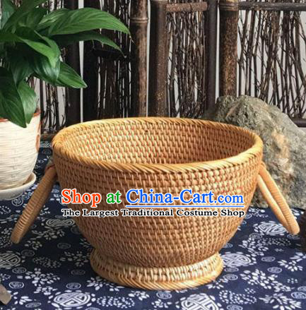 Asian Vietnamese Traditional Craft Rattan Fruit Basket Straw Plaited Storage Box