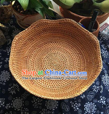 Asian Vietnamese Traditional Craft Rattan Bowls Basket Straw Plaited Food Saucer
