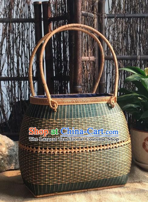 Asian Vietnamese Traditional Craft Rattan Handbag Straw Plaited Bag