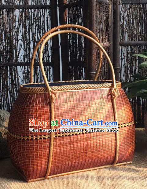 Asian Vietnamese Traditional Craft Red Rattan Handbag Straw Plaited Bag