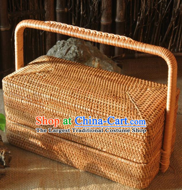 Asian Vietnamese Traditional Craft Rattan Basket Straw Plaited Storage Box