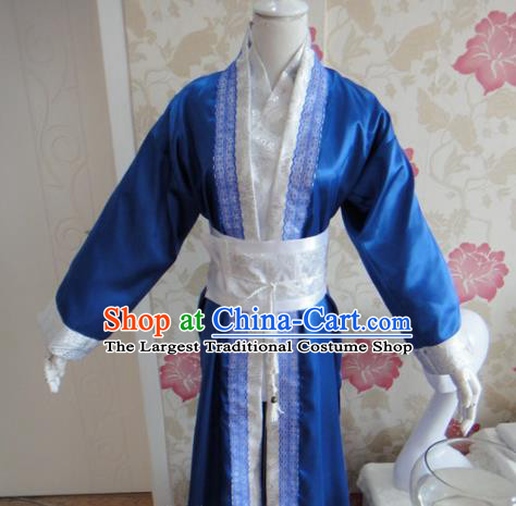 Chinese Traditional Cosplay Assassin Costumes Ancient Swordsman Blue Clothing for Men