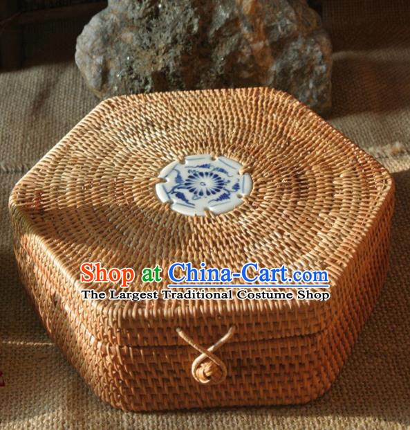 Asian Vietnamese Traditional Craft Rattan Artware Straw Plaited Storage Box