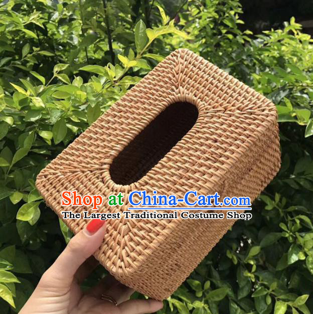 Asian Vietnamese Traditional Craft Rattan Artware Straw Plaited Paper Box