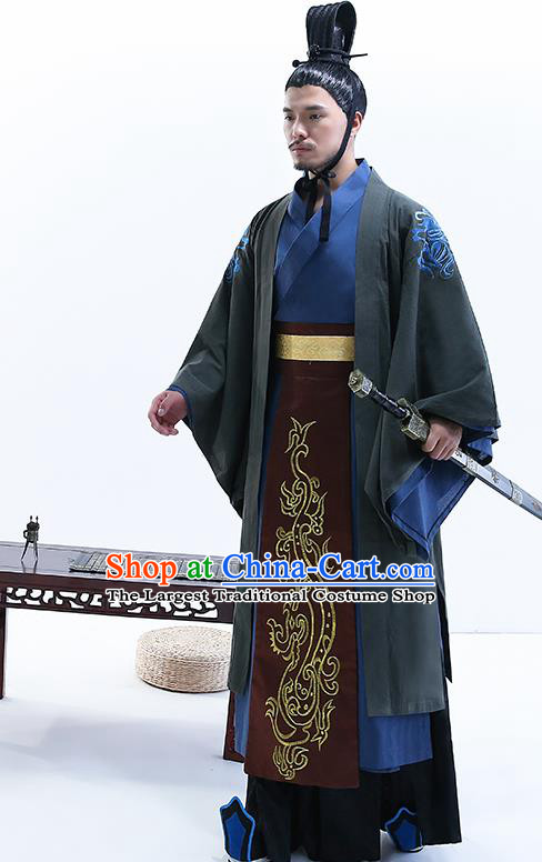 Chinese Ancient Drama Minister Costume Traditional Qin Dynasty Emperor Costumes for Men