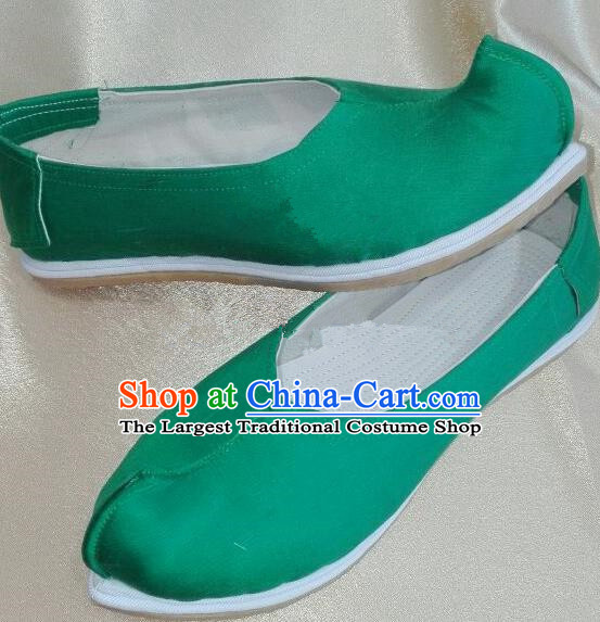 Chinese Traditional Hanfu Shoes Ancient Princess Green Satin Shoes Handmade Shoes for Women