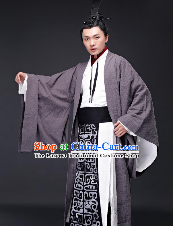 Chinese Ancient Drama Clothing Traditional Han Dynasty Minister Embroidered Costumes for Men