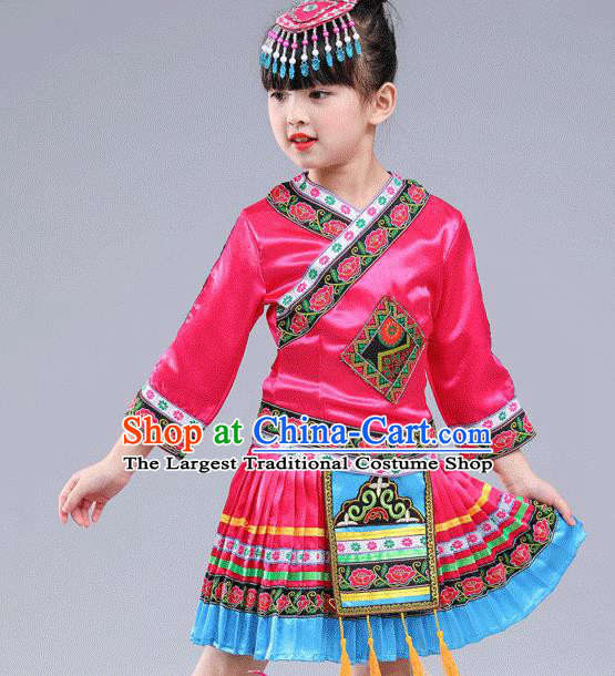 Chinese Traditional Miao Nationality Folk Dance Rosy Pleated Skirt Ethnic Dance Costumes for Kids