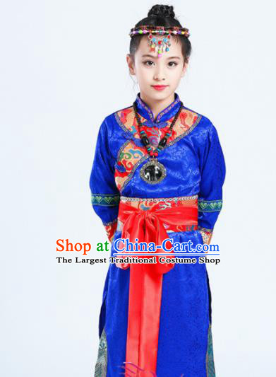 Chinese Traditional Mongolian Minority Folk Dance Clothing Ethnic Dance Royalblue Costumes for Kids