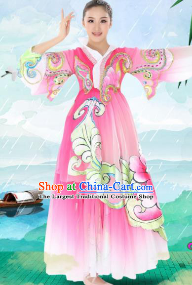 Chinese Traditional Korean Minority Pink Dress Ethnic Folk Dance Costumes for Women