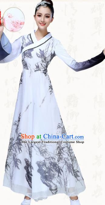 Chinese Traditional Classical Dance Fan Dance White Dress Group Dance Umbrella Dance Costumes for Women