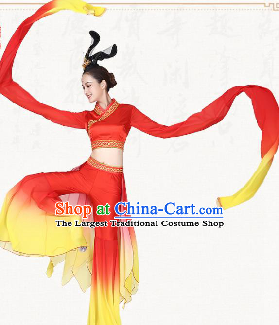 Chinese Traditional Classical Dance Red Water Sleeve Dress Umbrella Dance Group Dance Costumes for Women