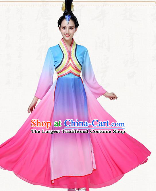 Chinese Traditional Classical Dance Blue Dress Folk Dance Group Dance Umbrella Dance Costumes for Women