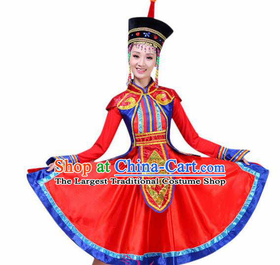 Chinese Mongolian Ethnic Minority Embroidered Red Dress Traditional Mongols Nationality Folk Dance Costumes for Women