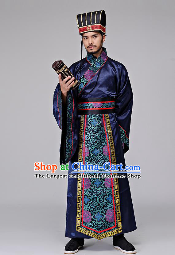 Traditional Chinese Three Kingdoms Period Minister Zhuge Liang Costumes Ancient Drama Chancellor Clothing for Men