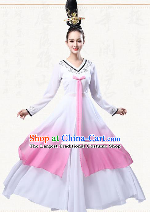 Chinese Traditional Classical Dance Pink Dress Ancient Flying Peri Fan Dance Group Dance Costumes for Women