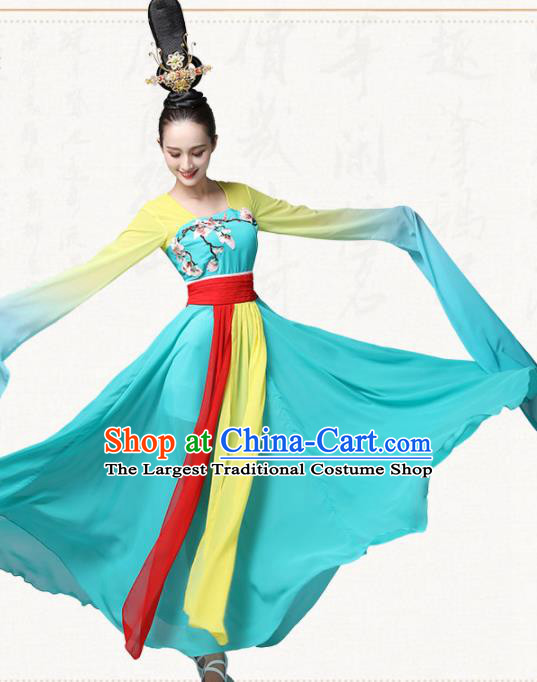 Chinese Traditional Classical Dance Green Dress Ancient Flying Peri Fan Dance Group Dance Costumes for Women