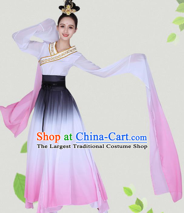 Chinese Traditional Classical Dance Hanfu Dress Ancient Water Sleeve Group Dance Costumes for Women