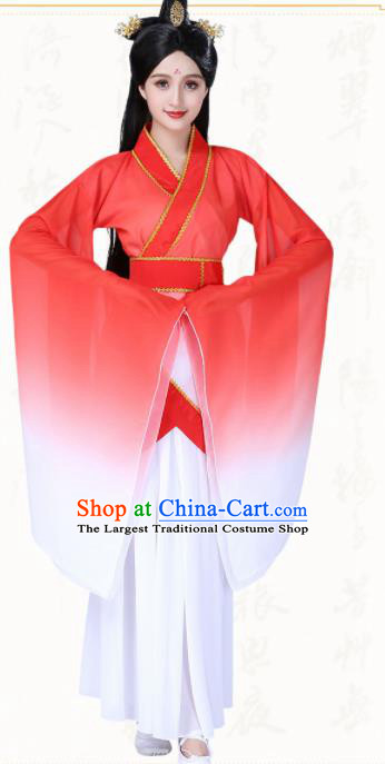 Chinese Traditional Classical Dance Red Hanfu Dress Ancient Group Dance Costumes for Women