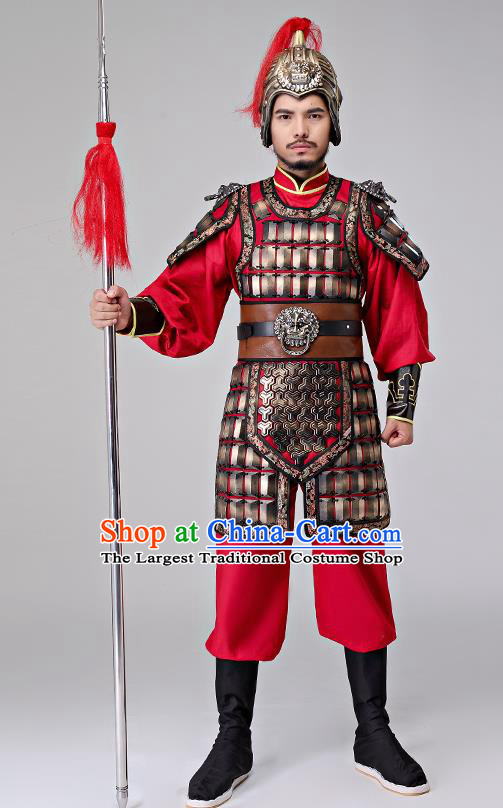 Traditional Chinese Han Dynasty General Costumes Ancient Drama Warrior Helmet and Body Armour for Men