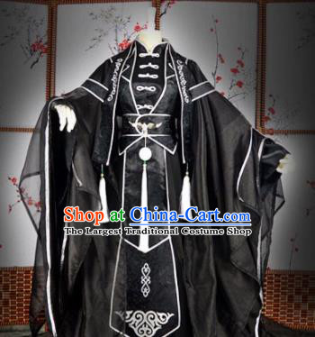 Traditional Chinese Cosplay Royal Highness Embroidered Black Costumes Ancient Swordsman Hanfu Clothing for Men