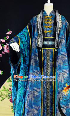 Traditional Chinese Cosplay Childe Costumes Ancient Swordsman Blue Hanfu Clothing for Men