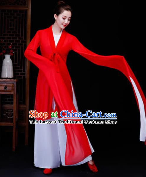 Traditional Chinese Classical Dance Fan Dance Red Dress Yanko Dance Clothing for Women