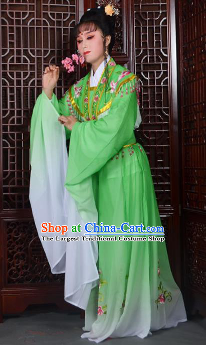 Traditional Chinese Beijing Opera Actress Costumes Ancient Princess Embroidered Green Dress for Adults