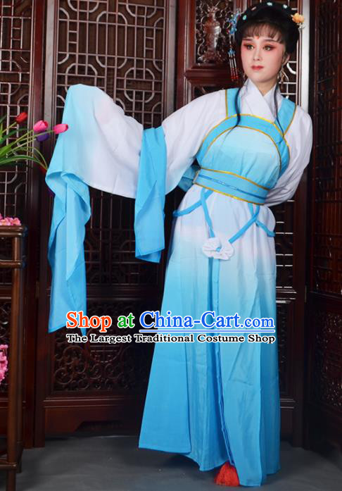 Traditional Chinese Beijing Opera Actress Costumes Ancient Peri Blue Dress for Adults