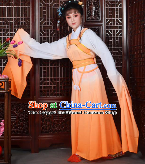 Traditional Chinese Beijing Opera Actress Costumes Ancient Peri Orange Dress for Adults