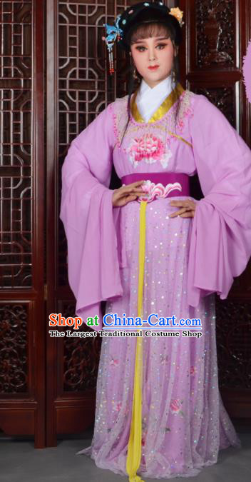 Chinese Ancient Peri Princess Embroidered Purple Dress Traditional Peking Opera Actress Costumes for Adults