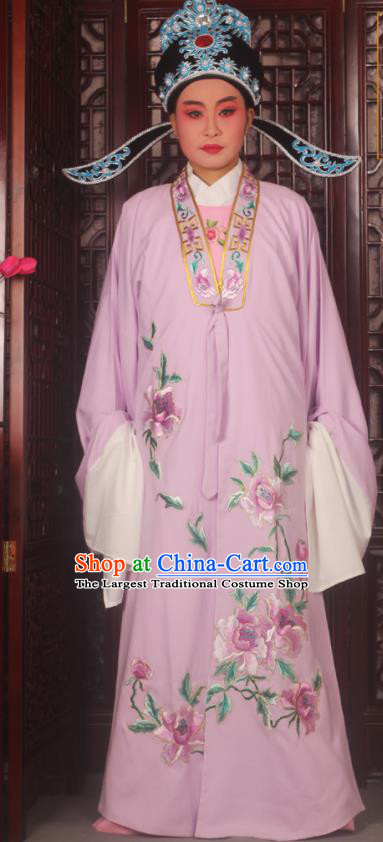 Top Grade Chinese Beijing Opera Scholar Costumes Peking Opera Niche Embroidered Lilac Clothing for Adults