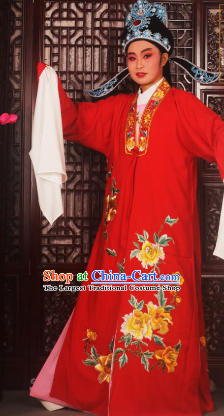 Top Grade Chinese Beijing Opera Scholar Costumes Peking Opera Niche Embroidered Red Clothing for Adults