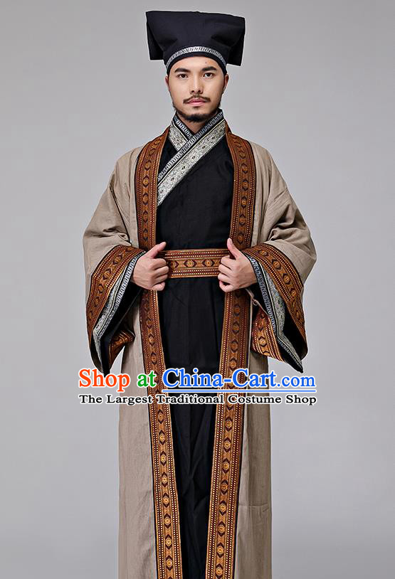 Traditional Chinese Song Dynasty Merchant Costumes Ancient Drama Swordsman Clothing for Men