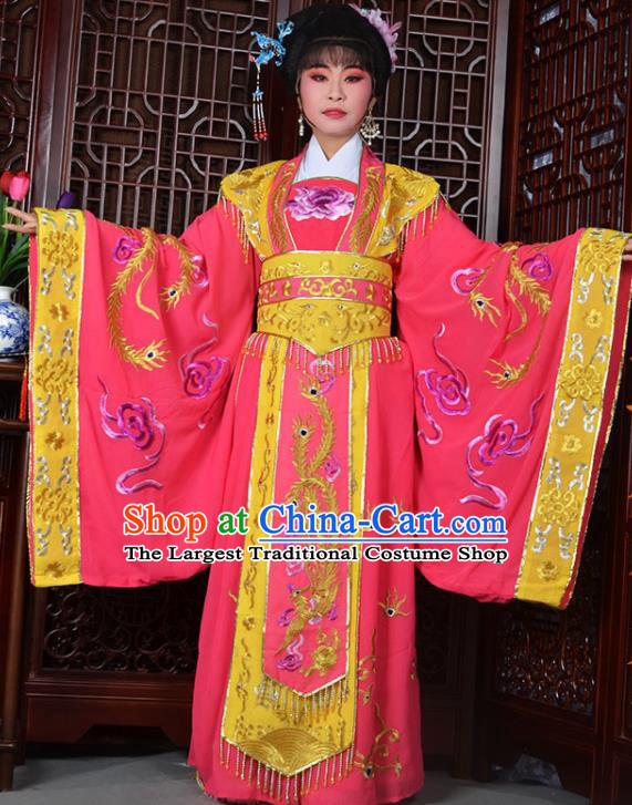 Traditional Chinese Peking Opera Empress Embroidered Costumes Ancient Queen Pink Dress for Adults